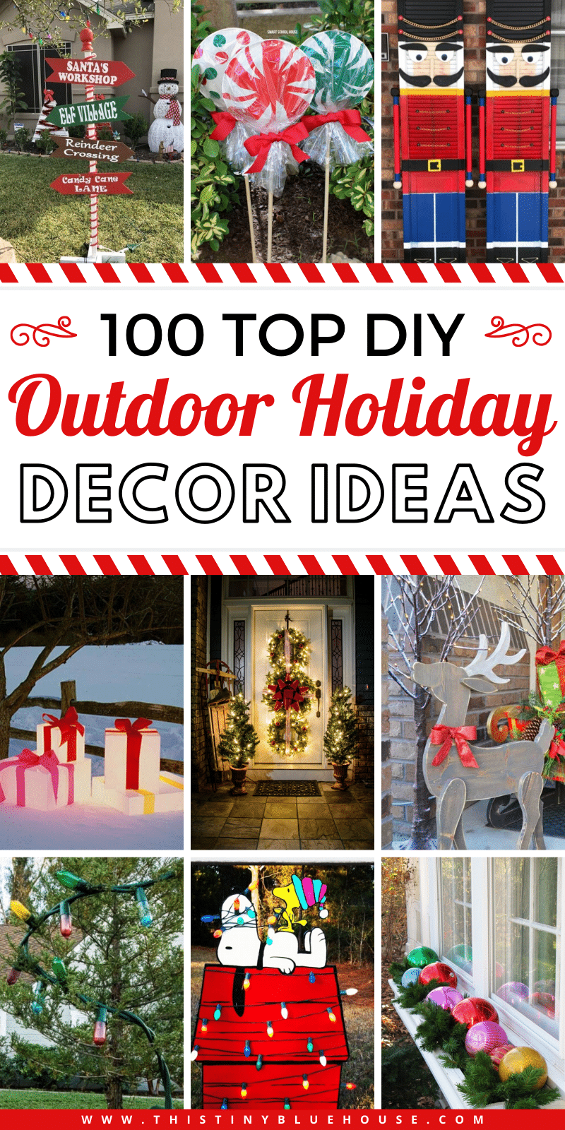 Here are 100+ best top outdoor Christmas decor ideas that will make the outside of your home festive in time for the holidays. #OutdoorChristmasDecorations #OutdoorChristmasDecorationDIY #OutdoorChristmasDecorDIY #DIYOutsideChristmasDecor
