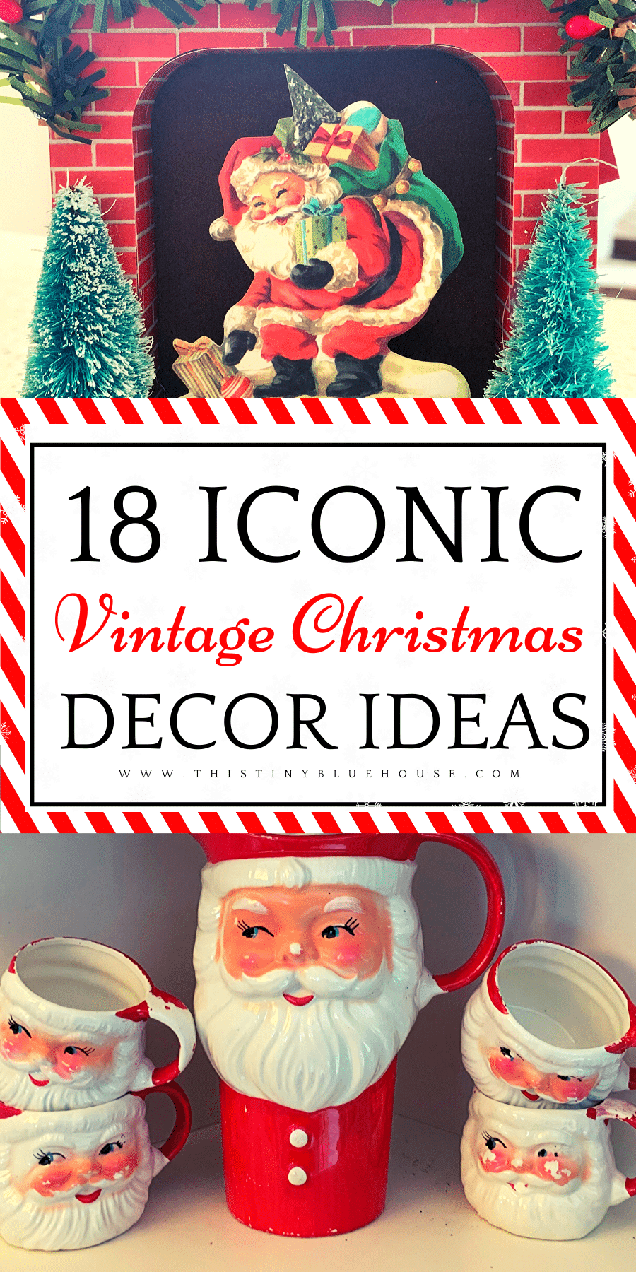 Add a sense of nostalgia to your holiday decor with these vintage Christmas decor ideas. From adorable Santa mugs to retro bubble lights, these retro Holiday decor ideas are a fun trip down memory lane of Christmases past. #vintagechristmas #vintagechristmasdecoartions #vintagechristmasdecorating #retrochristmas #retrochristmasdecorations #retrochristmasvintage