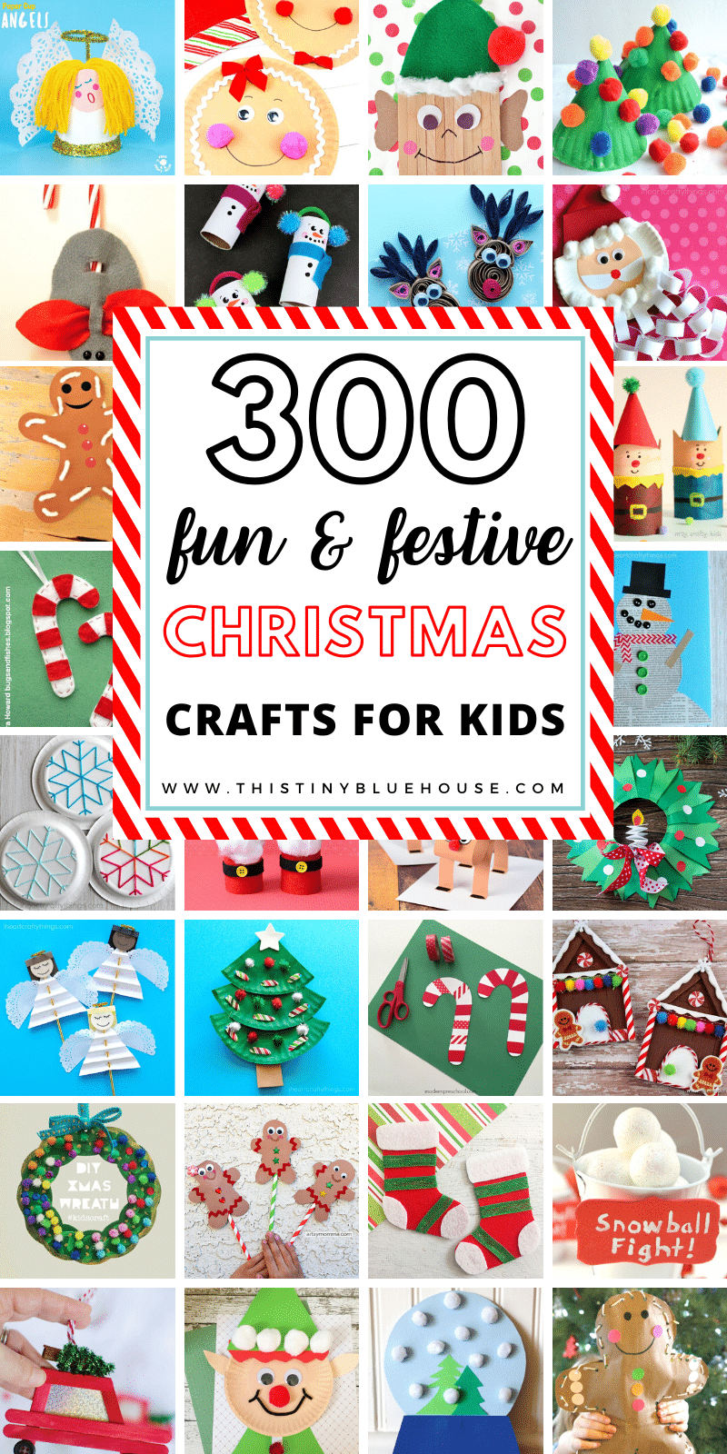 Here is the ultimate BEST collection of fun festive Christmas Crafts for kids. This massive collection of over 300 fun holiday crafts for kids includes everything from Santa crafts to candy cane crafts and much much more. #ChristmasCrafts #ChristmasCraftsForKids #EasyChristmasCraftsForKids #ChristmasCraftsforToddlers #ChristmasCraftsForPreschoolers #ChristmasCraftForKidsDIY
