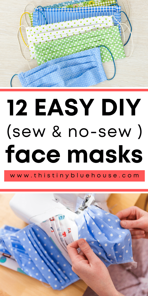Here are 12 easy DIY face mask tutorials that you can use to make either sewn or no-sew masks with materials you likely already have at home. #facemask #diyfacemask #facemaskpattern #facemaskdiy #nosewdiyfacemask #facemasknosew #facemasksewingpattern