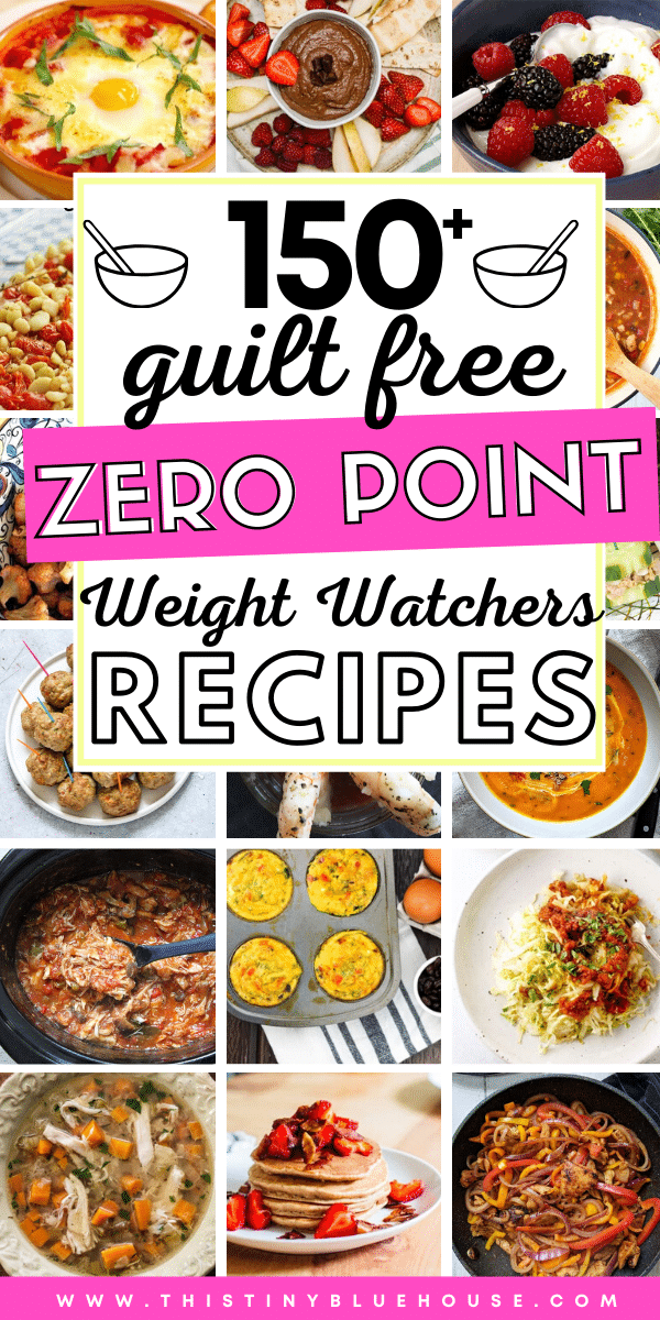 Here are over 150 best zero point Weight Watchers meals. These recipes are grouped into zero point meals, snacks, desserts, dinners and appetizers. These zero point food ideas are perfect for times when you've run out of points or want to stretch you daily point budget. #weightwatchers #weightwatcherszeropointfoods #weightwatcherszeropointrecipes #weightwatcherszeropointrecipeideas #zeropointweightwatchersfoods #zeropointweightwatchersrecipes #zeropointbreakfasts #zeropointlunches #zeropointdinners #zeropointsnacks #zeropointdesserts