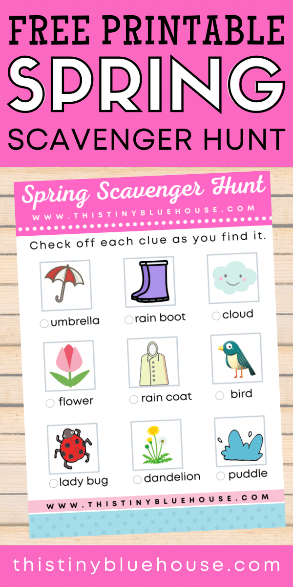 This FREE printable spring scavenger hunt for kids is for children under 5 years old. It's a super fun and engaging way to get kids pumped about spring while making discoveries of their own in their environment. #springscavengerhunt #springscavengerhuntforkids #springscavengerhuntprintable #printablesforkids #springscavengerhuntforkidsprintable #springscavengerhuntideasforkids #scavengerhuntforkids #printablescavengerhuntforkids #freescavengerhuntforkids