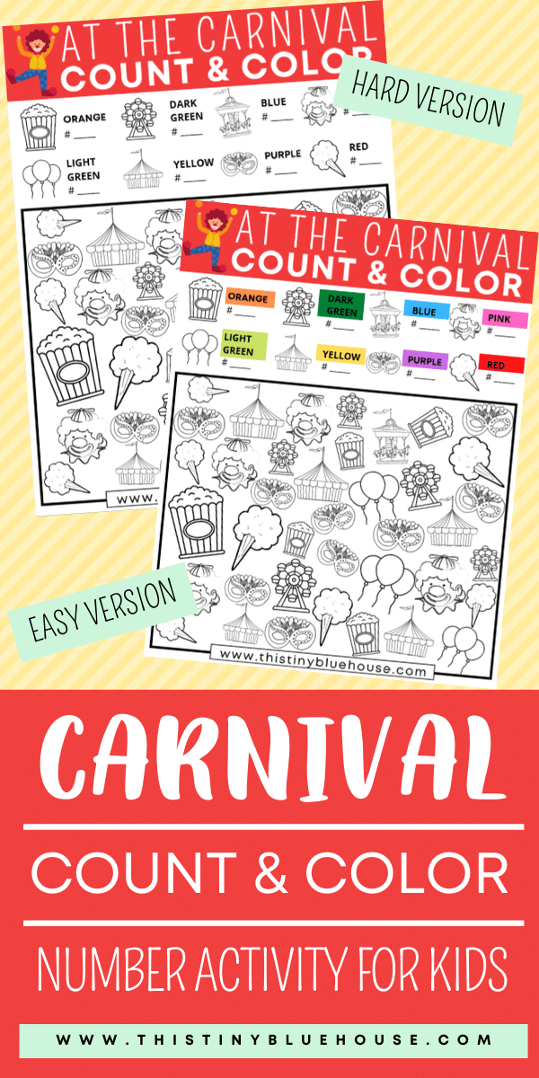 Reduce screen time with this super fun Carnival count & color I Spy Game For Kids. As a bonus kids work on their number and counting skills. #countandcolor #countingprintablesforkids #numberworksheetsforkids #ispygame #ispygameforkids #freeprintablesforkids #freeworksheetsforpreschool #kindgergartenprintables #boredombustingactivities