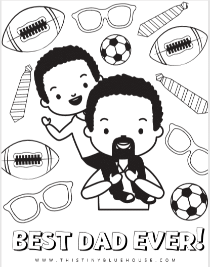 Free Cute Printable Father's Day Coloring Pages - This Tiny Blue House