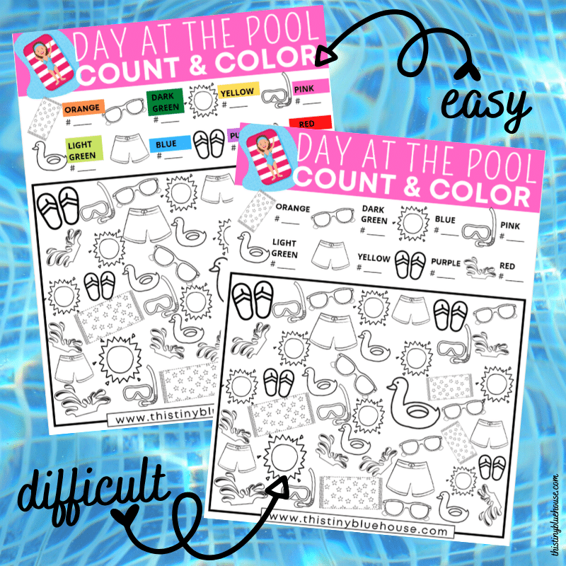 Day At The Pool I Spy Count and Color Boredom Buster For Kids