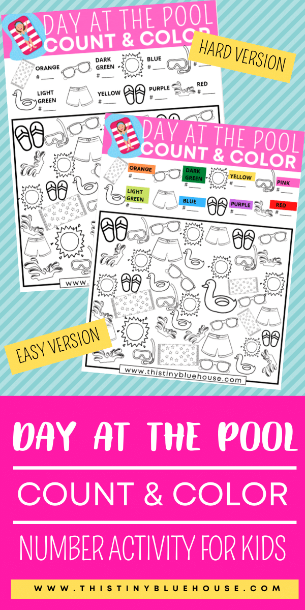 Reduce screen time with this fun day at the Pool Count And Color I Spy activity for kids. This free download promotes counting, sorting and coloring skills. #countandcolor #boredombustingactivities #boredombustersforkids #freeprintablegames #freeprintableactivities #ispy #ispaygame #freeprintablesforpreschoolers #funprintablegamesforkids