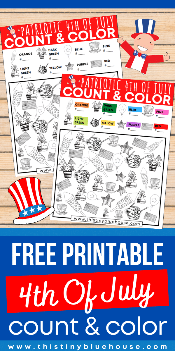 Download and print this FREE 4th of July Patriotic Count and Color game. This preschool and kindergarten activity teaches numbers, colors and patterns. #freeprintablesforkids #printableactivitesforkids #ISpyGame #CountandColorGame #FreePrintablePreschoolWorksheets #FreeKindergartenPrintables #ISpyColoringGame