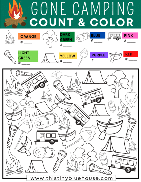 Gone Camping Count & Color I Spy Game For Kids