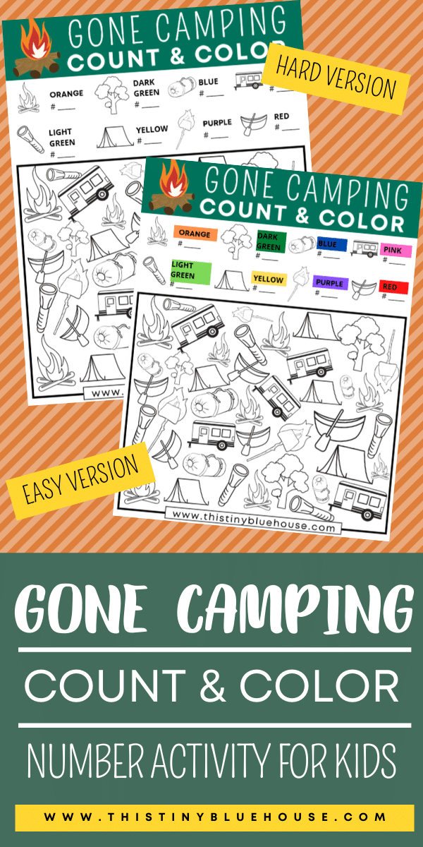 Reduce screen time with this super fun Gone Camping Count and Color Activity. As a bonus kids work on their number and counting skills. #countandcolor #countingprintablesforkids #numberworksheetsforkids #ispygame #ispygameforkids #freeprintablesforkids #freeworksheetsforpreschool #kindgergartenprintables #boredombustingactivities