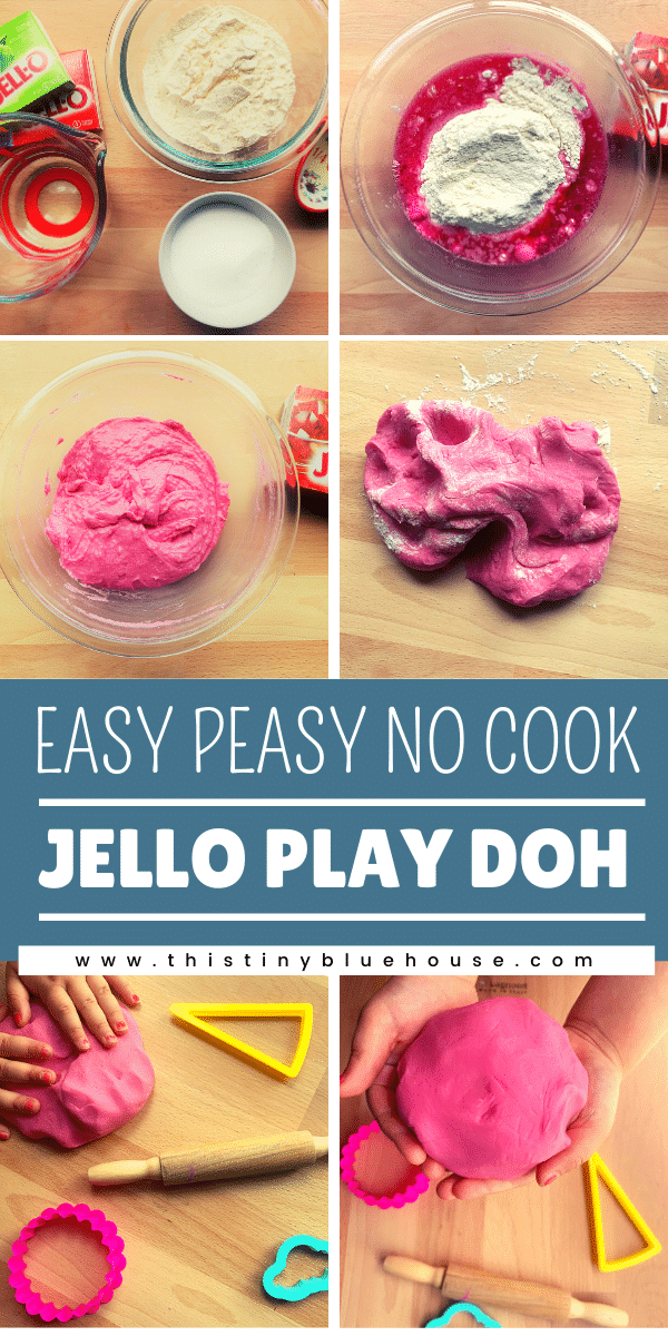 Easy, no cook Play Doh made with Jello and no cream of tartar. This non-toxic no cook Play Dough takes under 10 minutes to make and keeps well for weeks. #playdohrecipe #homemadeplaydough #DIYPlayDoh #NoCookPlayDoh #NonToxicHomemadePlayDoh #JelloPlayDoh #EasyNoCookPlayDoh