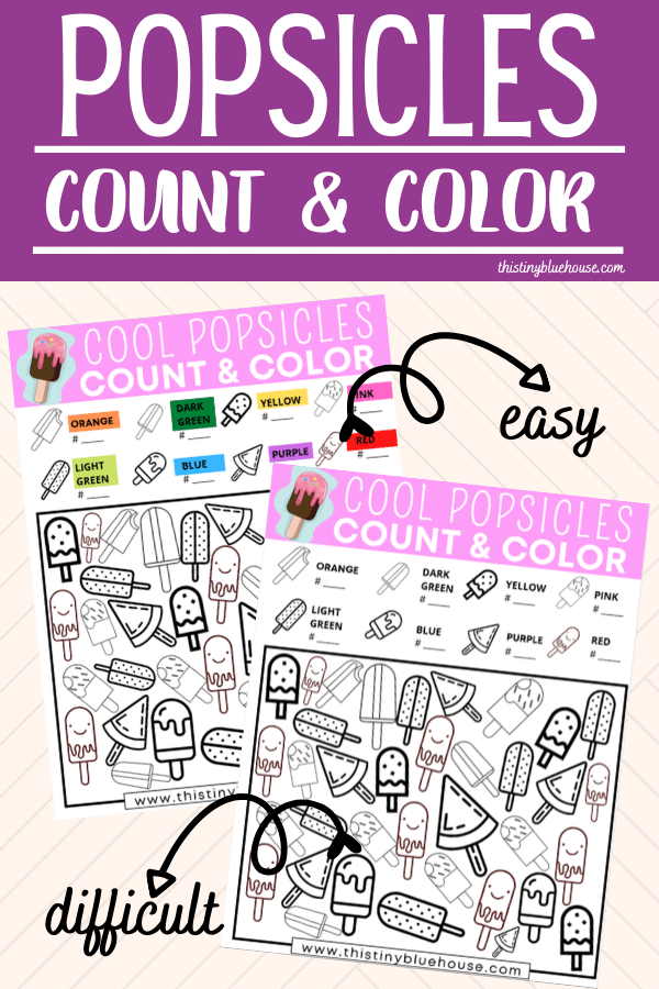 Reduce screen time with this FREE Popsicle Count and Color activity game. This fun boredom busting I Spy activity focuses on counting, sorting and coloring. #countandcolor #boredombustingactivities #boredombustersforkids #freeprintablegames #freeprintableactivities #ispy #ispaygame #freeprintablesforpreschoolers #funprintablegamesforkids