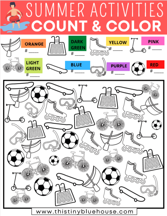 Summer I Spy Count & Color Boredom Buster