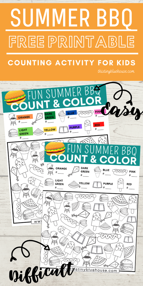 Reduce screen time with this FREE Summer BBQ Count and Color activity game. This fun boredom busting I Spy activity focuses on counting, sorting and coloring. #countandcolor #boredombustingactivities #boredombustersforkids #freeprintablegames #freeprintableactivities #ispy #ispaygame #freeprintablesforpreschoolers #funprintablegamesforkids