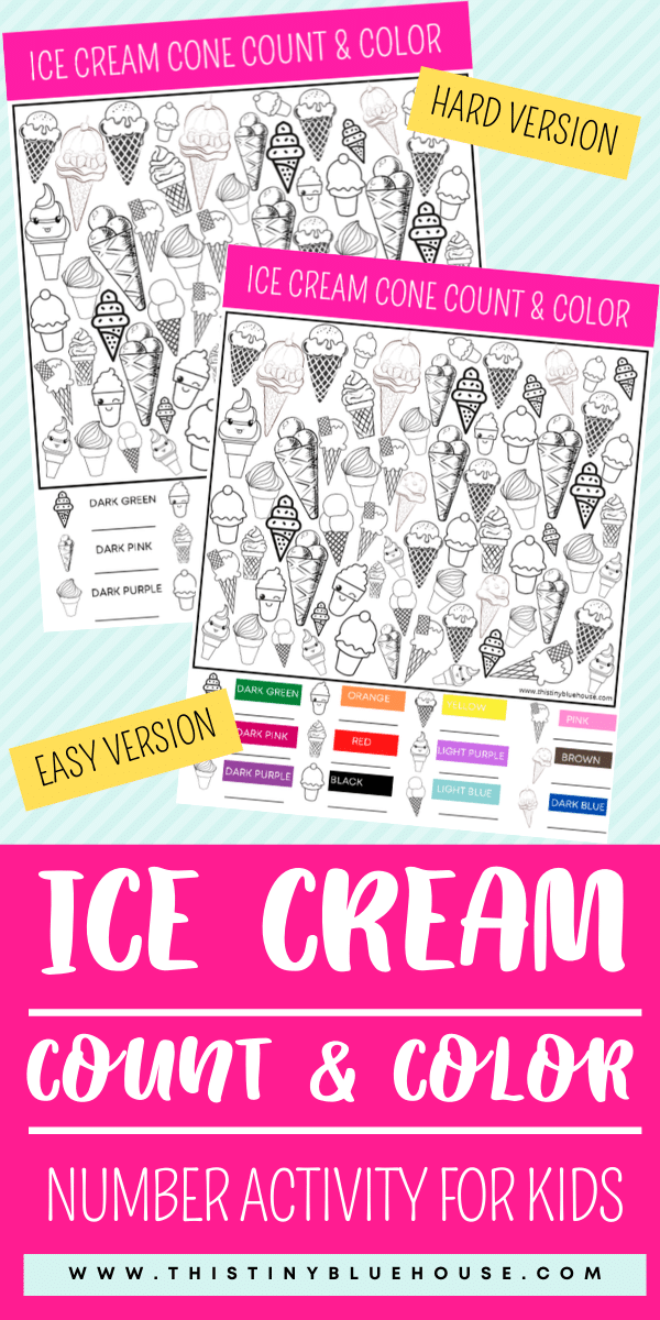 Reduce screen time with this FREE Ice Cream Count and Color activity game. This fun boredom busting I Spy activity focuses on counting, sorting and coloring. #countandcolor #boredombustingactivities #boredombustersforkids #freeprintablegames #freeprintableactivities #ispy #ispaygame #freeprintablesforpreschoolers #funprintablegamesforkids