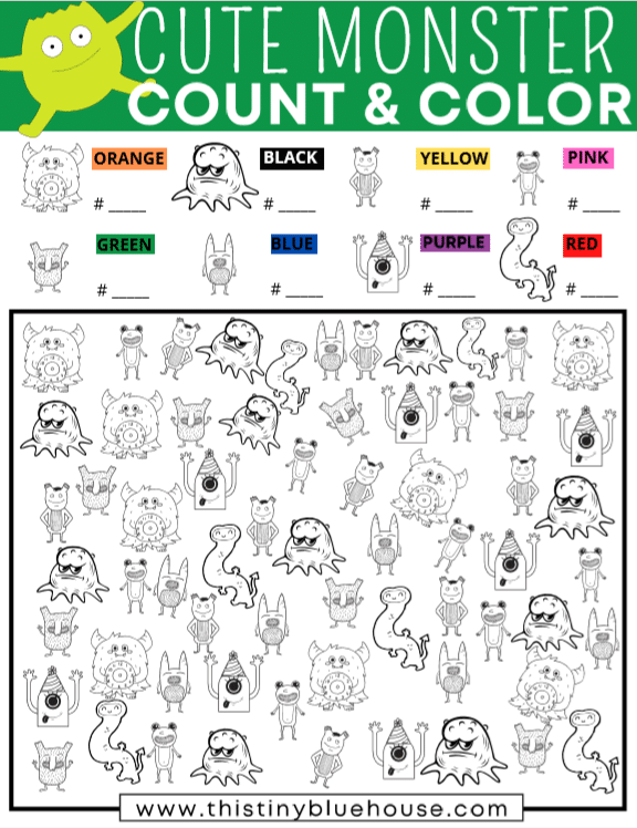 Practice counting, coloring and grouping with this super fun Cute Monsters I Spy Free Printable activity for young kids. Learning has never been so much fun! With 2 levels of difficulty this free printable count and color I Spy Game is perfect for kids of all ages.