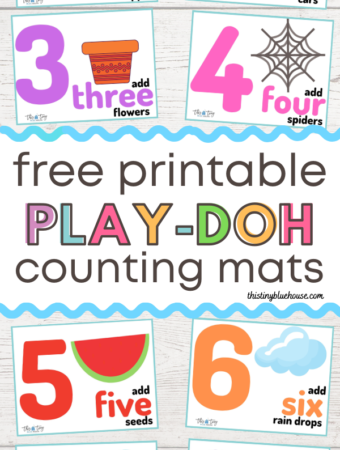 Make number practice a fun activity for preschoolers with these free printable Play-Doh Counting Mats. This sensory approach to numbers is fun and educational. These number mats are a guaranteed way to make counting fun!