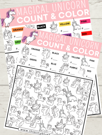 Practice your kids coloring, counting and sorting skills with this super fun FREE printable magical unicorn I Spy Count and Color Game for kids. With two versions to pick from (hard and easier) this is the perfect activity for any child who loves the magic of Unicorns.