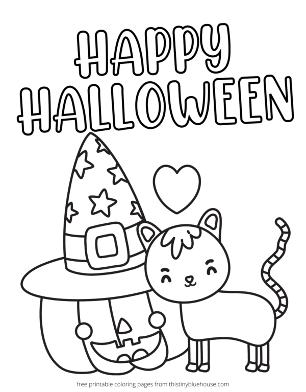 - 7 Best Free Printable Non Scary Halloween Coloring Pages - This Tiny Blue  House