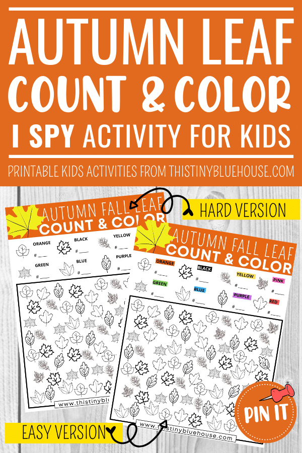 Free Fall Leaf I Spy Printable Count and Color Activity For Kids