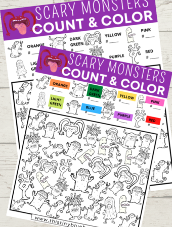 Scary Monster Halloween I Spy (2 Version Free Printable)
