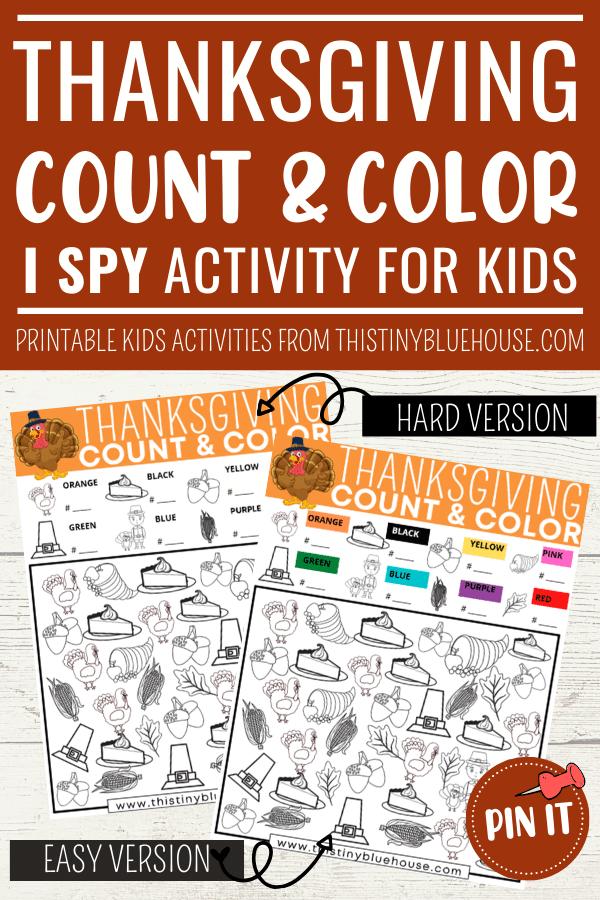 Free Printable Thanksgiving I Spy Activity For Kids