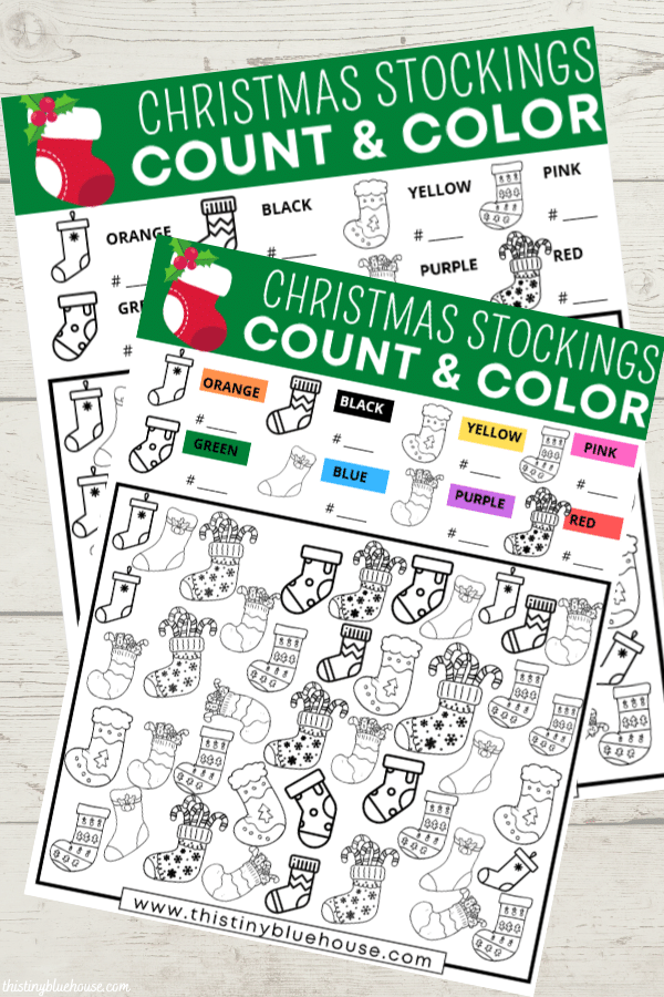 Get kids extra excited about Christmas with this free printable Christmas Stocking I Spy activity that practices counting, coloring & sorting. This screen free activity is a great way to encourage some screen free quiet time play.