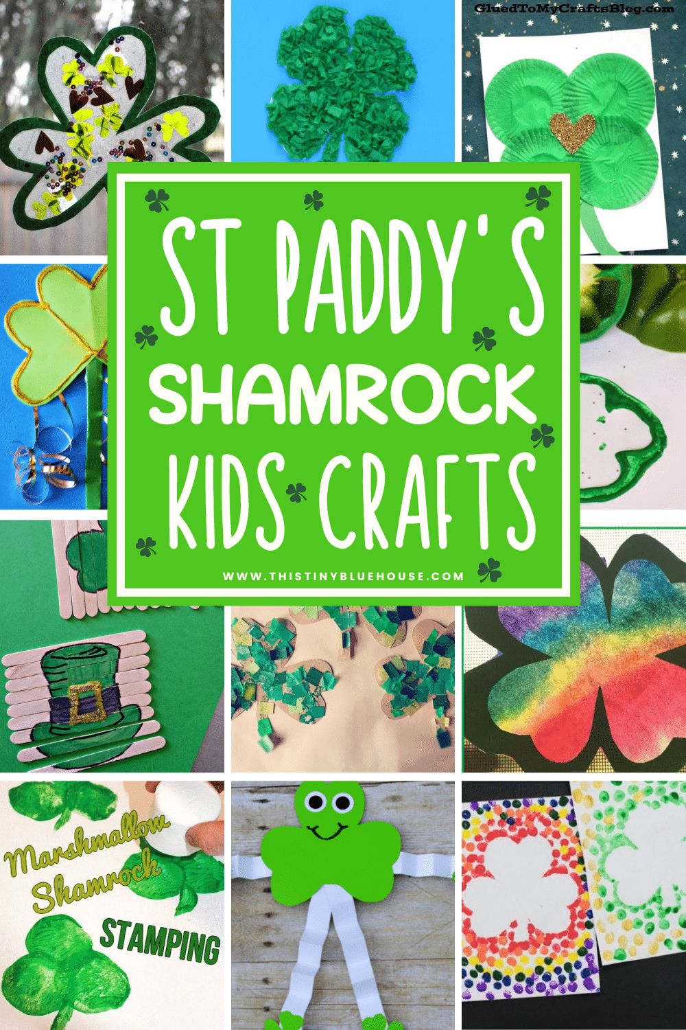 40 quick and easy festive Shamrock crafts for kids perfect for welcoming and celebrating St. Patrick's day this year.  Versatile and great for kids of all ages these fun Shamrock crafts are a fun festive screen free activity to celebrate St. Patrick's day.