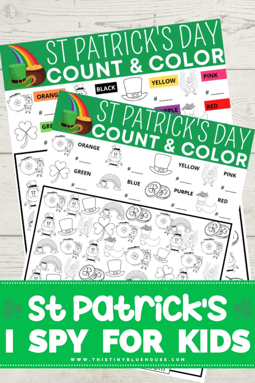 free printable St Patrick's Day I Spy game for kids