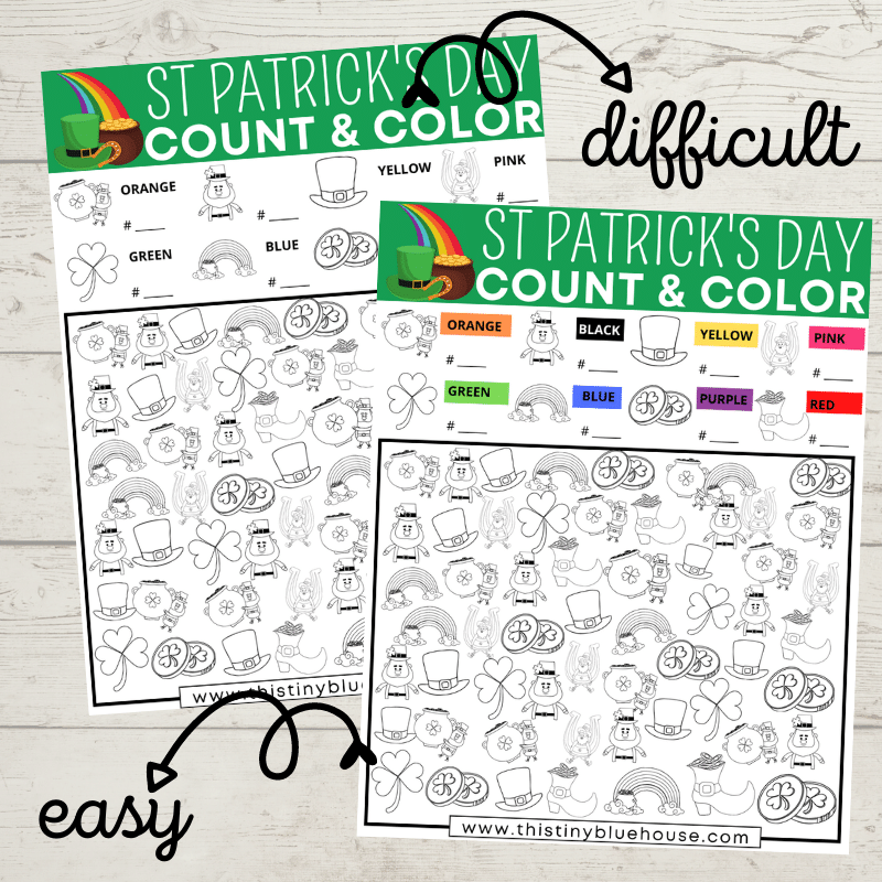 Encourage quiet time play with this FREE St Patricks Day I Spy Printable. This fun screen free activity focuses on counting, coloring & sorting skills.