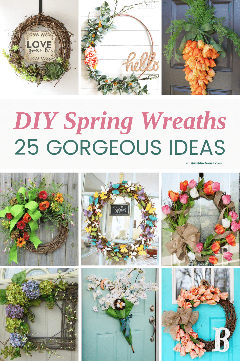 Celebrate the end of snow and return of green grass and beautiful flowers by making one of these gorgeous DIY spring wreaths. Made with simple materials these gorgeous DIY spring wreaths are the perfect way to make your front door pretty this spring.
