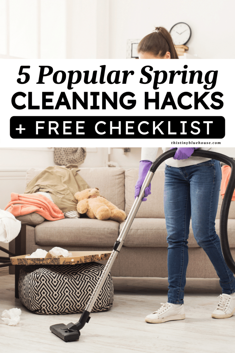 Are you looking for some spring cleaning hacks to get your home fresh and clean this spring? Here are 5 of my favorite cleaning hacks to meet your cleaning goals and get your home sparkling clean in time for summer. BONUS free Spring Cleaning Checklist and printable is available at the bottom of this post!