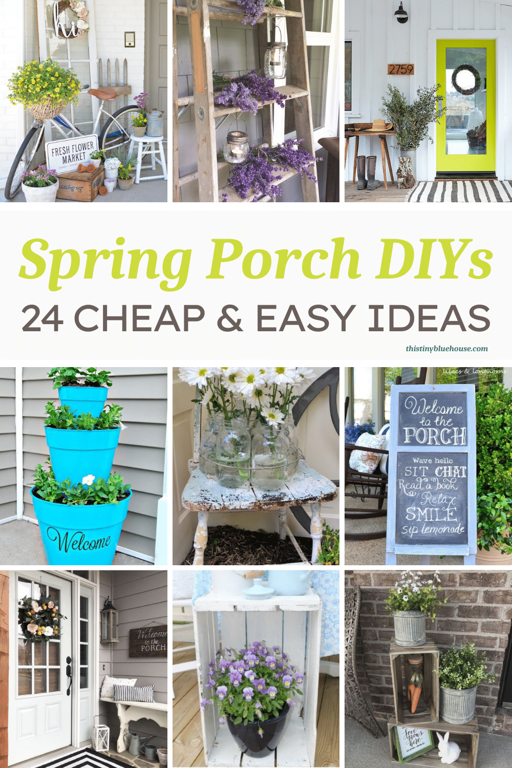 Welcome spring and warmer weather with a fun DIY spring porch makeover. Here are over 20 absolutely gorgeous DIY Spring Porch ideas to freshen up your porch and front door just in time for spring and the warmer weather!