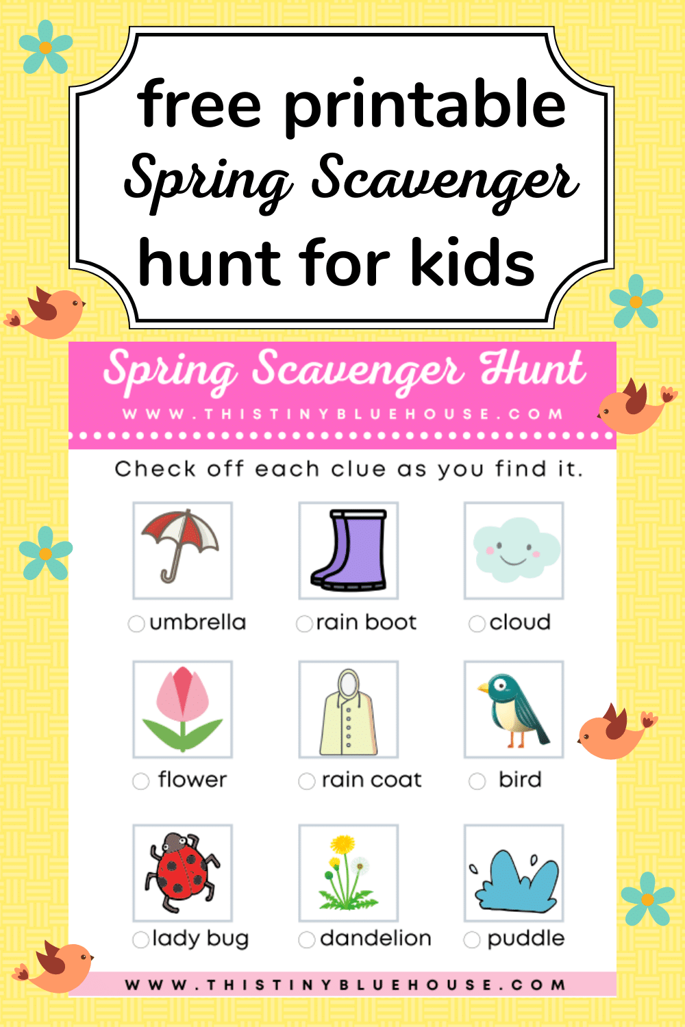 Get the kids excited about spring with the totally free printable spring scavenger hunt for kids. Walk, bike, blade or scoot around your neighbor and help the kids find scavenger items while getting in some exercise and fresh air!