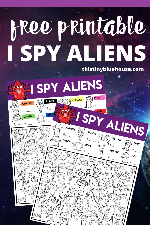 I Spy Aliens {Free Printable I Spy Aliens Worksheet)