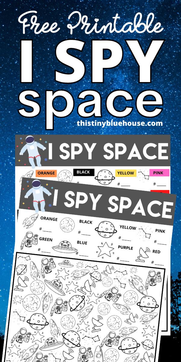 free printable I Spy space worksheet for kids