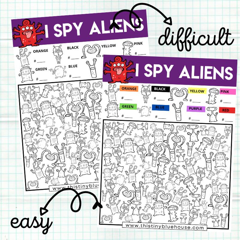 I Spy Aliens {2 Version Free Printable Worksheets}